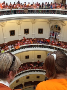 Gathering in the rotunda. Drop in the bucket of orange pro-choice supporters.